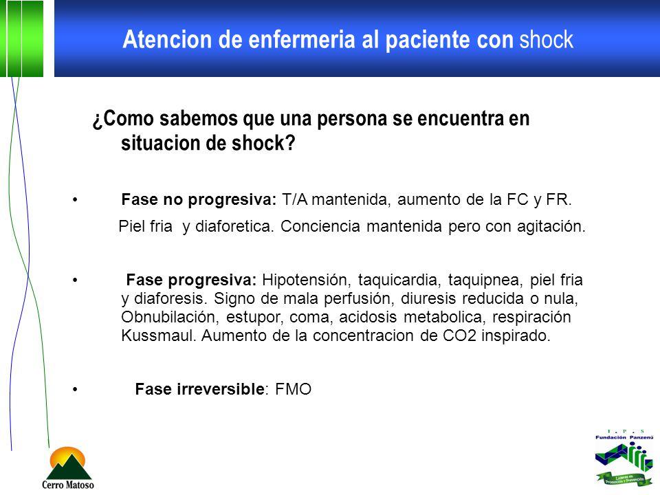 Atencion de enfermeria al paciente con shock ¿Como sabemos que una persona se encuentra en situacion de shock? Fase no progresiva: T/A mantenida, aume