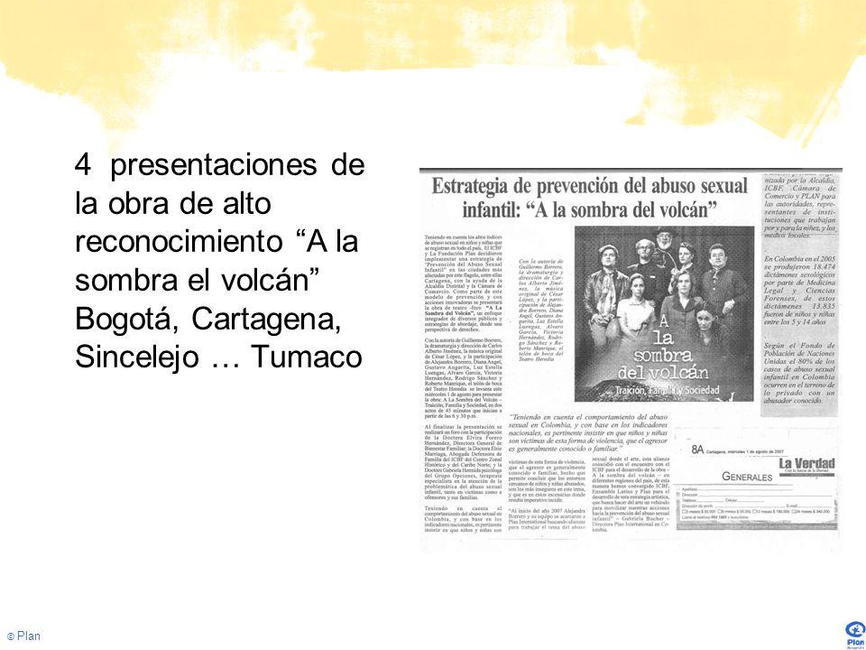 4 presentaciones de la obra de alto reconocimiento A la sombra el volcán Bogotá, Cartagena, Sincelejo … Tumaco