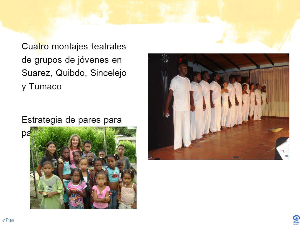 © Plan Cuatro montajes teatrales de grupos de jóvenes en Suarez, Quibdo, Sincelejo y Tumaco Estrategia de pares para pares