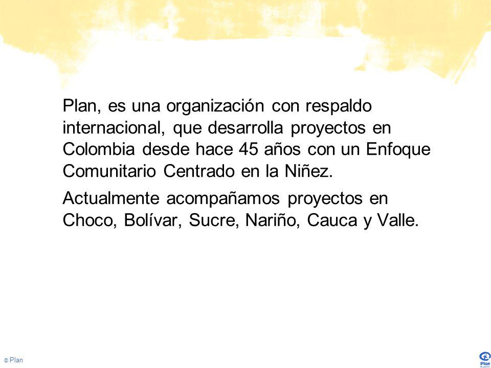 © Plan Plan, es una organización con respaldo internacional, que desarrolla proyectos en Colombia desde hace 45 años con un Enfoque Comunitario Centrado en la Niñez.