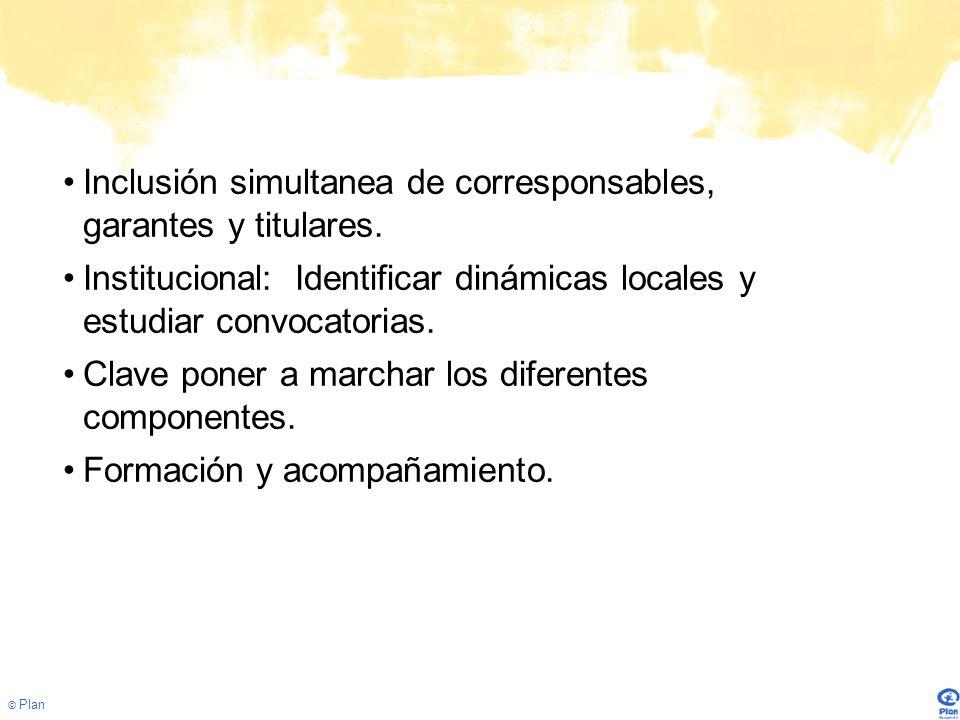© Plan Inclusión simultanea de corresponsables, garantes y titulares.