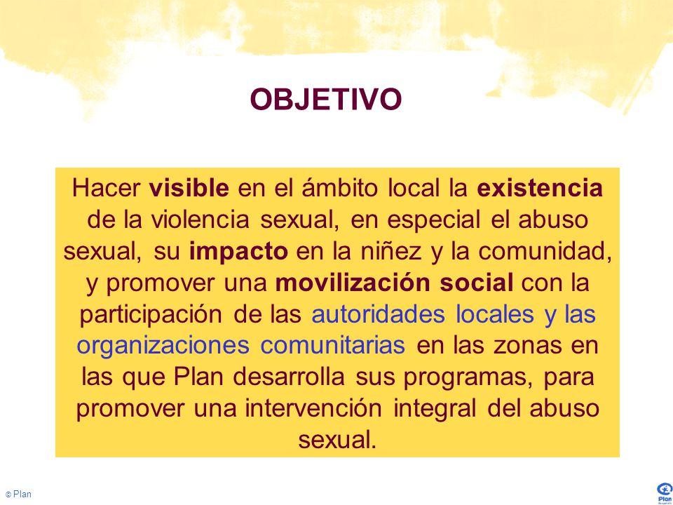 © Plan Fortalecimiento Institucional Desarrollo de Procesos de fortalecimiento institucional 108 personas (83% mujeres y 16.84% hombres) que hacen parte de instituciones vinculadas a la atención de víctimas de abuso sexual (de los sectores de justicia, protección, salud y educación y el algunas zonas algunas organizaciones no gubernamentales).