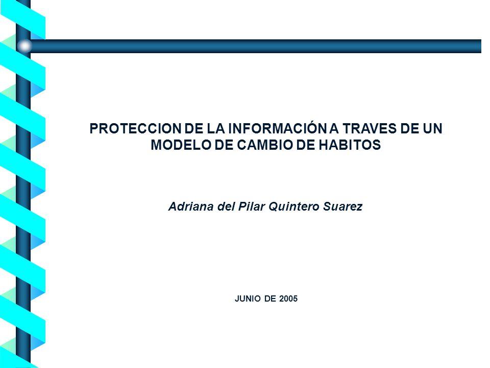 Proceso de Concienciación en Seguridad de la Información - Noviembre 2004- Adriana del Pilar Quintero Suarez PROTECCION DE LA INFORMACIÓN A TRAVES DE UN MODELO DE CAMBIO DE HABITOS JUNIO DE 2005