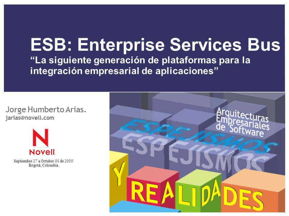 Septiembre 27 a Octubre 01 de 2005 Bogotá, Colombia ESB: Enterprise Services Bus La siguiente generación de plataformas para la integración empresaria