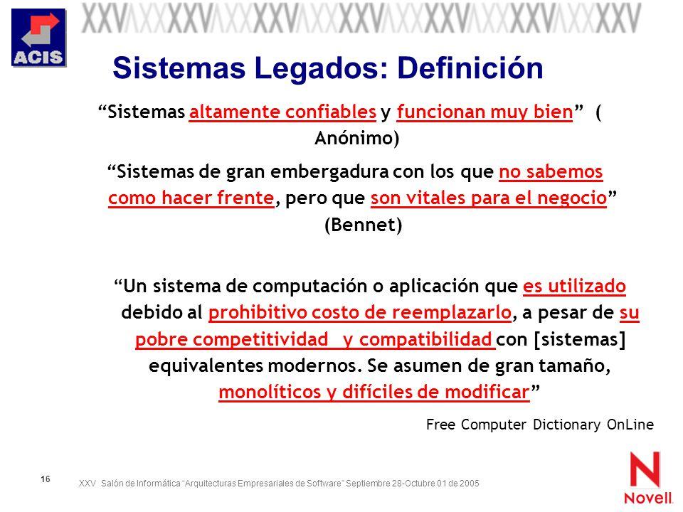XXV Salón de Informática Arquitecturas Empresariales de Software Septiembre 28-Octubre 01 de 2005 16 Sistemas Legados: Definición Sistemas de gran emb