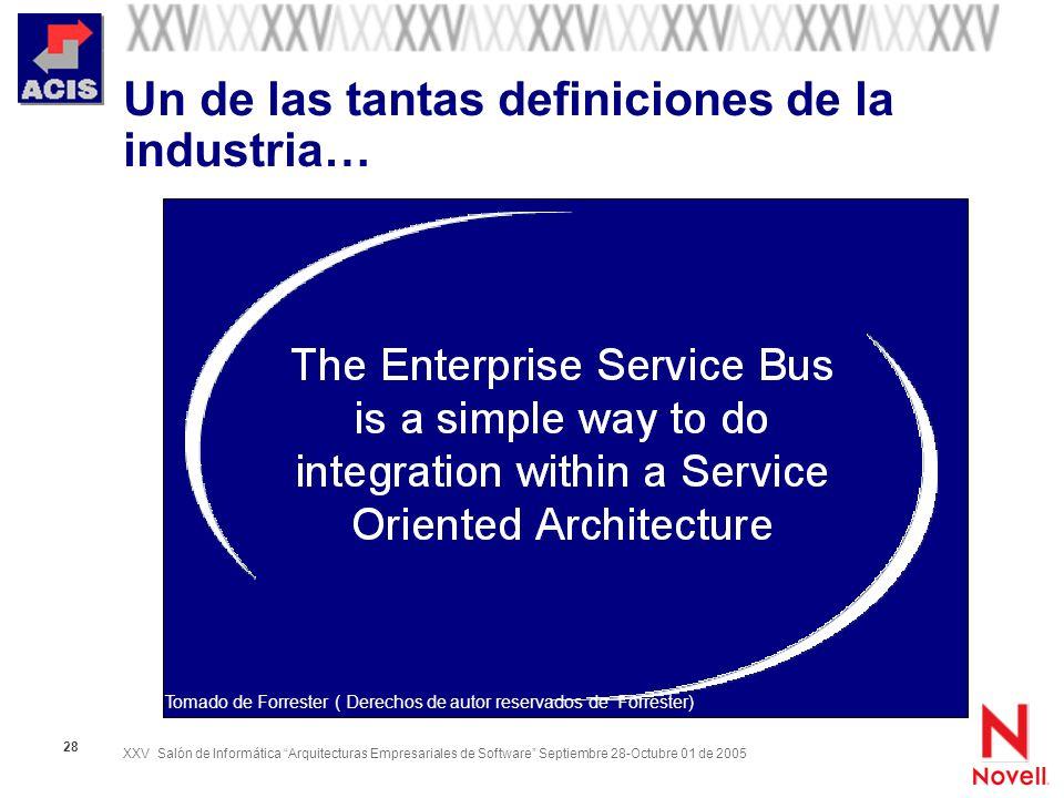 XXV Salón de Informática Arquitecturas Empresariales de Software Septiembre 28-Octubre 01 de 2005 28 Un de las tantas definiciones de la industria… To