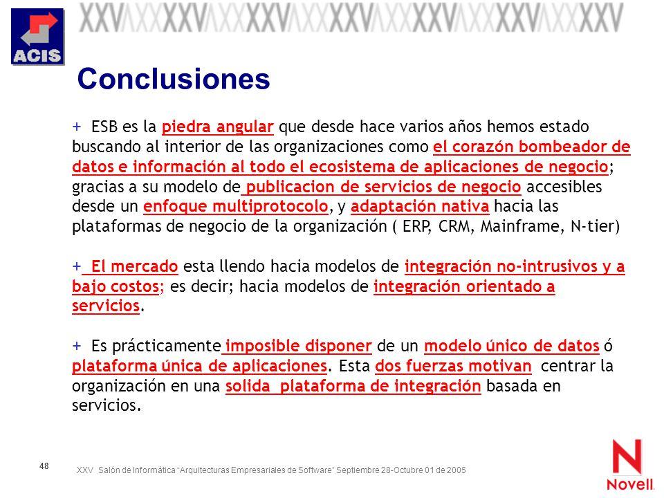 XXV Salón de Informática Arquitecturas Empresariales de Software Septiembre 28-Octubre 01 de 2005 48 Conclusiones + ESB es la piedra angular que desde