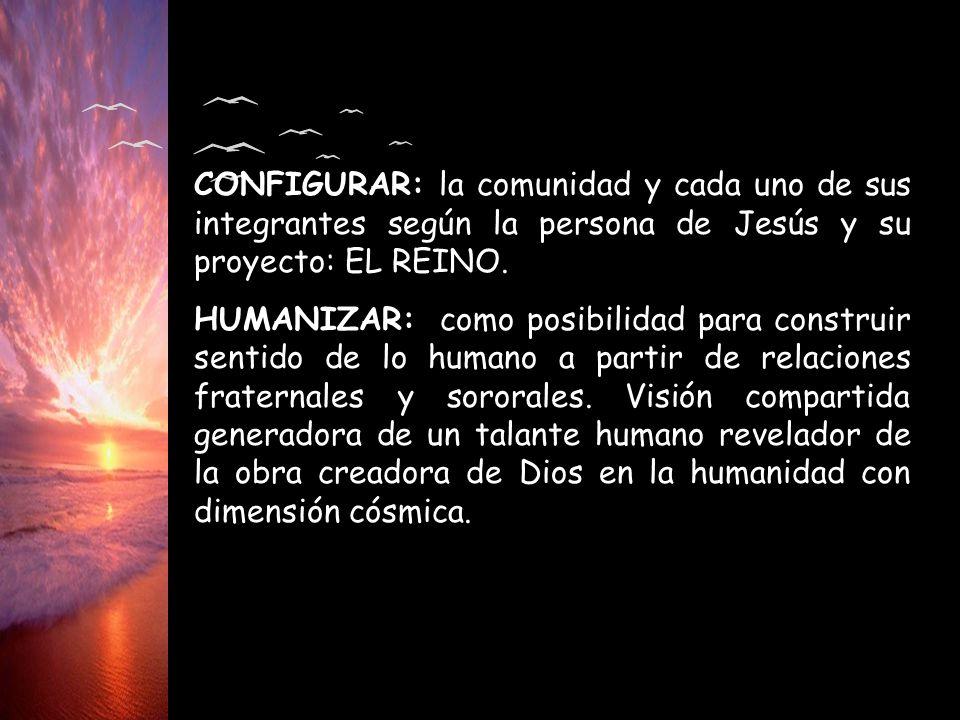 CONFIGURAR: la comunidad y cada uno de sus integrantes según la persona de Jesús y su proyecto: EL REINO. HUMANIZAR: como posibilidad para construir s