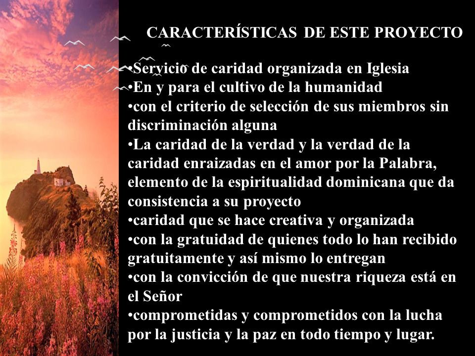CARACTERÍSTICAS DE ESTE PROYECTO Servicio de caridad organizada en Iglesia En y para el cultivo de la humanidad con el criterio de selección de sus mi
