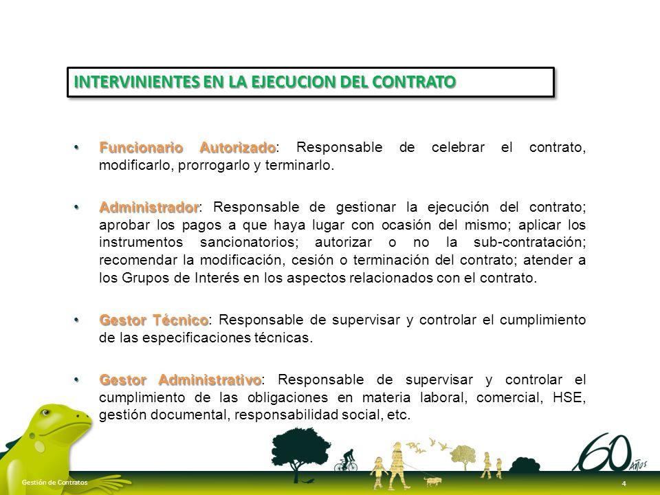 Funcionario AutorizadoFuncionario Autorizado: Responsable de celebrar el contrato, modificarlo, prorrogarlo y terminarlo. AdministradorAdministrador: