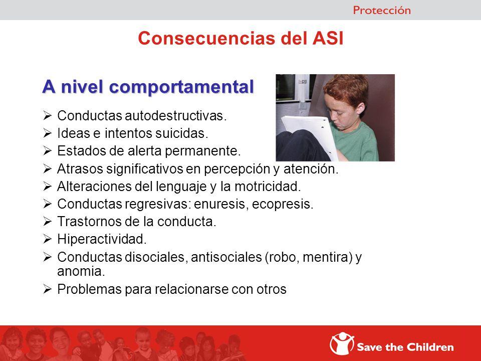 Consecuencias del ASI A nivel comportamental Conductas autodestructivas. Ideas e intentos suicidas. Estados de alerta permanente. Atrasos significativ