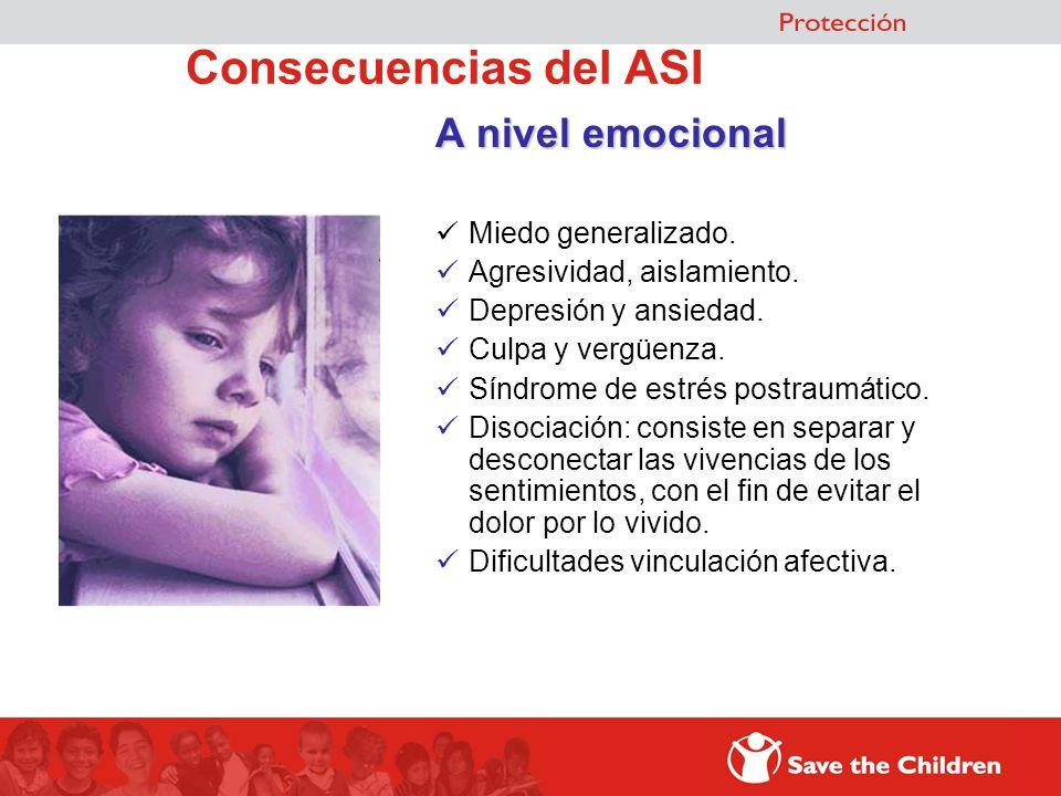 Consecuencias del ASI A nivel emocional Miedo generalizado. Agresividad, aislamiento. Depresión y ansiedad. Culpa y vergüenza. Síndrome de estrés post