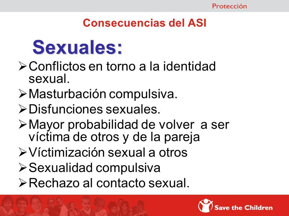 Consecuencias del ASI Sexuales: Conflictos en torno a la identidad sexual. Masturbación compulsiva. Disfunciones sexuales. Mayor probabilidad de volve