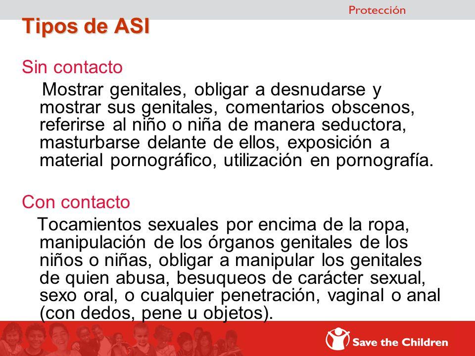 Tipos de ASI Sin contacto Mostrar genitales, obligar a desnudarse y mostrar sus genitales, comentarios obscenos, referirse al niño o niña de manera se