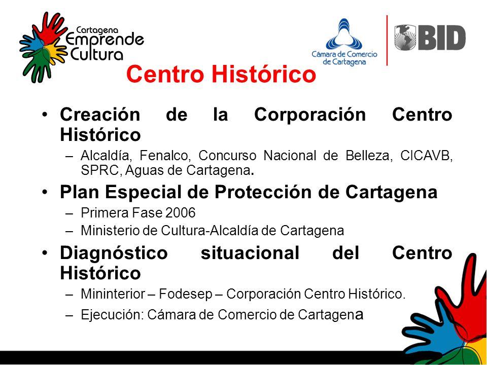 Creación de la Corporación Centro Histórico –Alcaldía, Fenalco, Concurso Nacional de Belleza, CICAVB, SPRC, Aguas de Cartagena. Plan Especial de Prote