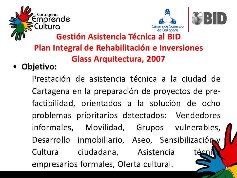 Objetivo: Prestación de asistencia técnica a la ciudad de Cartagena en la preparación de proyectos de pre- factibilidad, orientados a la solución de o