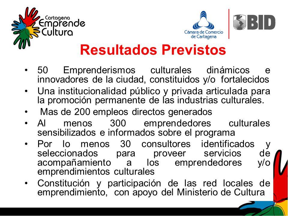 Resultados Previstos 50 Emprenderismos culturales dinámicos e innovadores de la ciudad, constituidos y/o fortalecidos Una institucionalidad público y