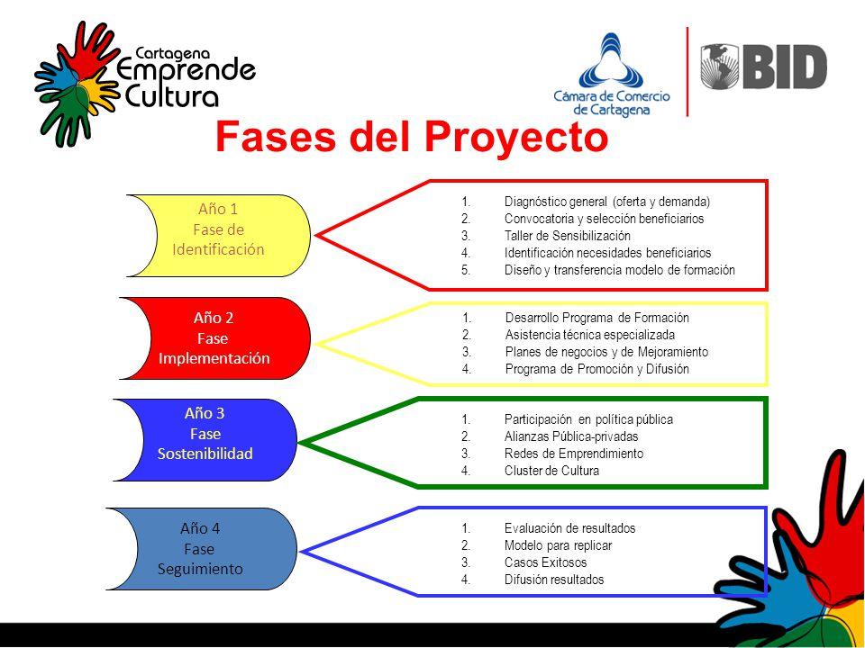 Fases del Proyecto Año 1 Fase de Identificación Año 2 Fase Implementación Año 4 Fase Seguimiento Año 3 Fase Sostenibilidad 1.Desarrollo Programa de Fo
