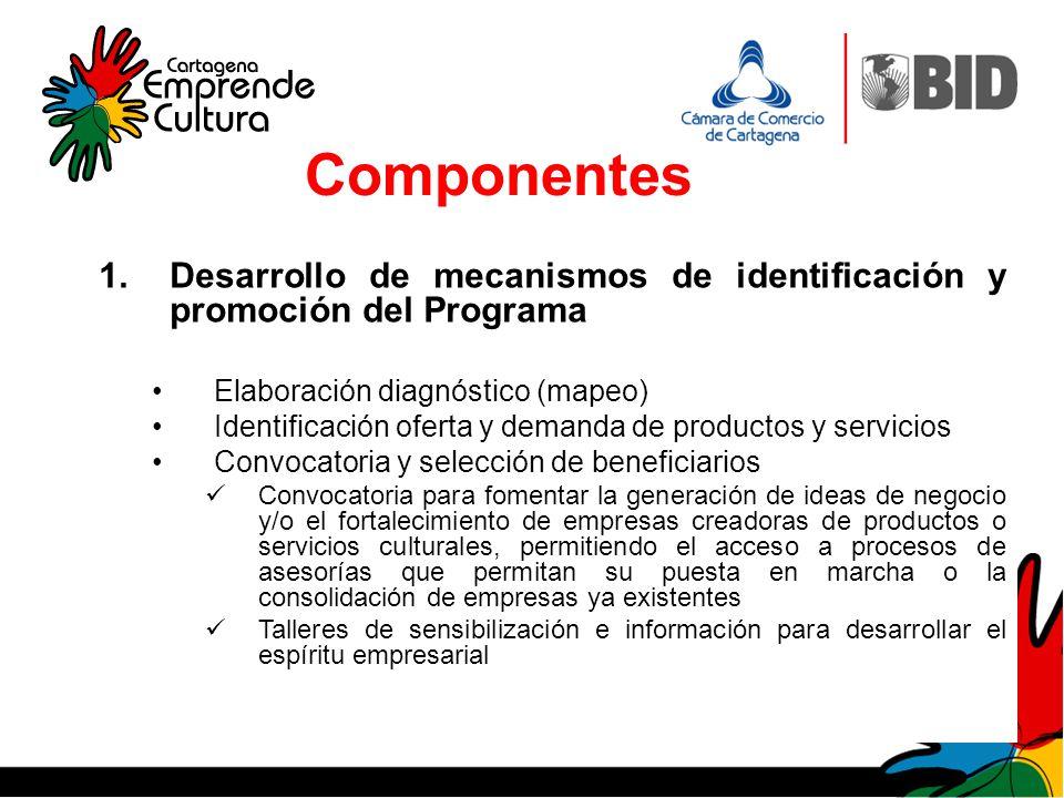 Componentes 1.Desarrollo de mecanismos de identificación y promoción del Programa Elaboración diagnóstico (mapeo) Identificación oferta y demanda de p
