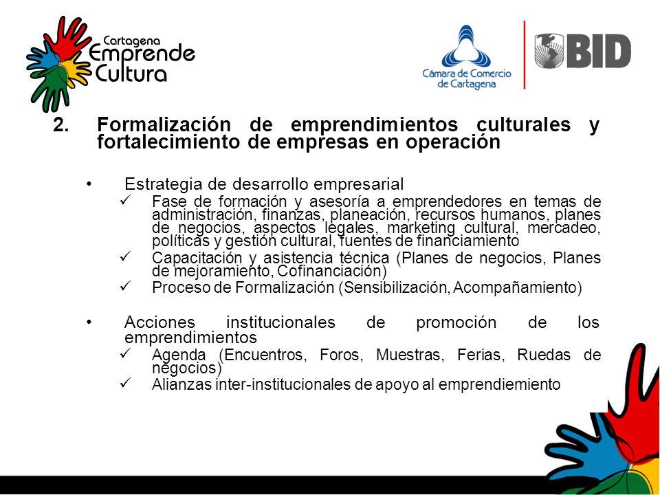 2.Formalización de emprendimientos culturales y fortalecimiento de empresas en operación Estrategia de desarrollo empresarial Fase de formación y ases