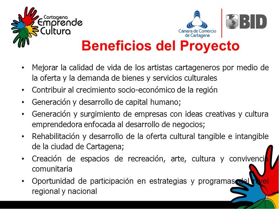 Beneficios del Proyecto Mejorar la calidad de vida de los artistas cartageneros por medio de la oferta y la demanda de bienes y servicios culturales C