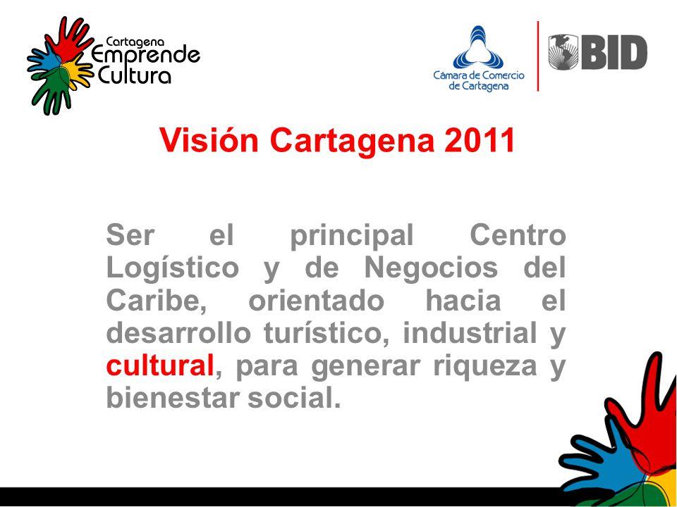 Visión Cartagena 2011 Ser el principal Centro Logístico y de Negocios del Caribe, orientado hacia el desarrollo turístico, industrial y cultural, para