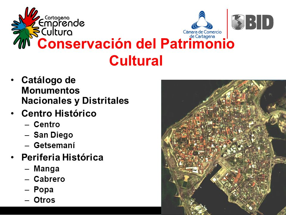 Catálogo de Monumentos Nacionales y Distritales Centro Histórico –Centro –San Diego –Getsemaní Periferia Histórica –Manga –Cabrero –Popa –Otros Conser