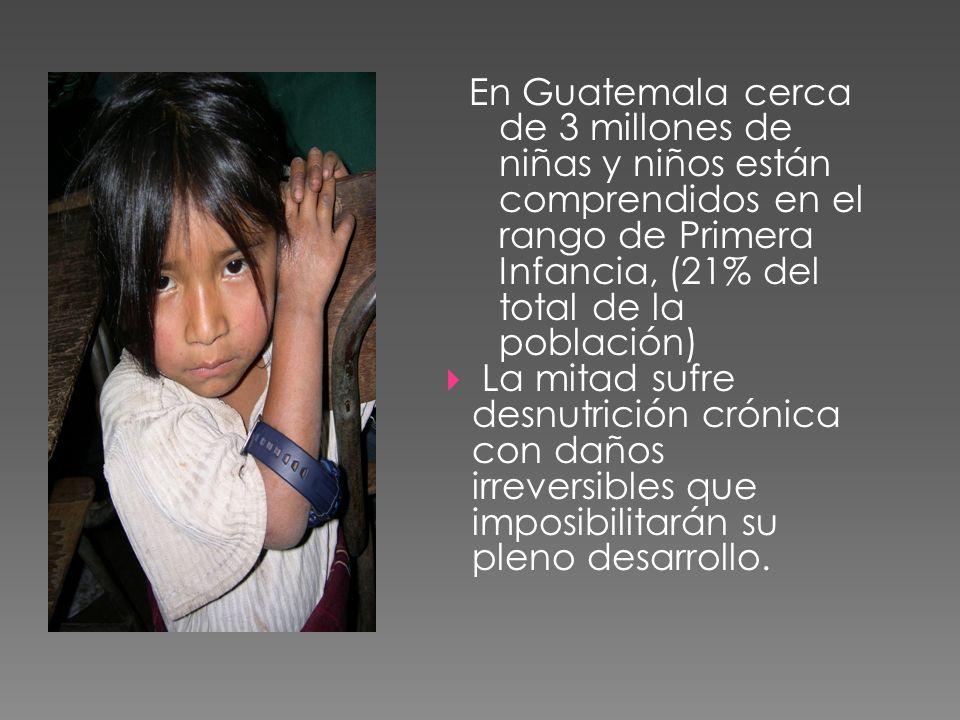 En Guatemala cerca de 3 millones de niñas y niños están comprendidos en el rango de Primera Infancia, (21% del total de la población) La mitad sufre d