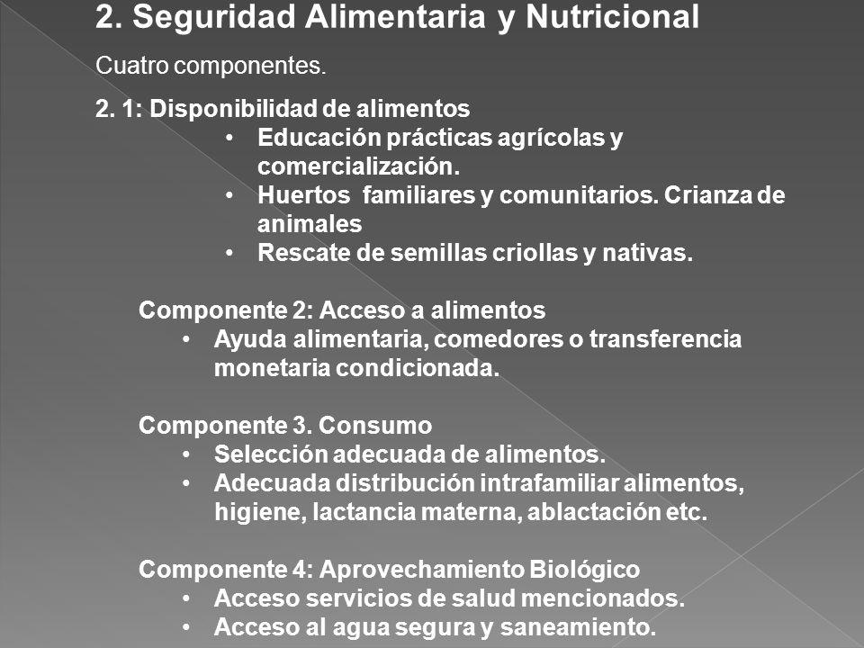 2. Seguridad Alimentaria y Nutricional Cuatro componentes. 2. 1: Disponibilidad de alimentos Educación prácticas agrícolas y comercialización. Huertos