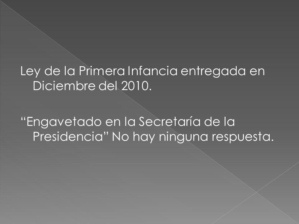 Ley de la Primera Infancia entregada en Diciembre del 2010. Engavetado en la Secretaría de la Presidencia No hay ninguna respuesta.