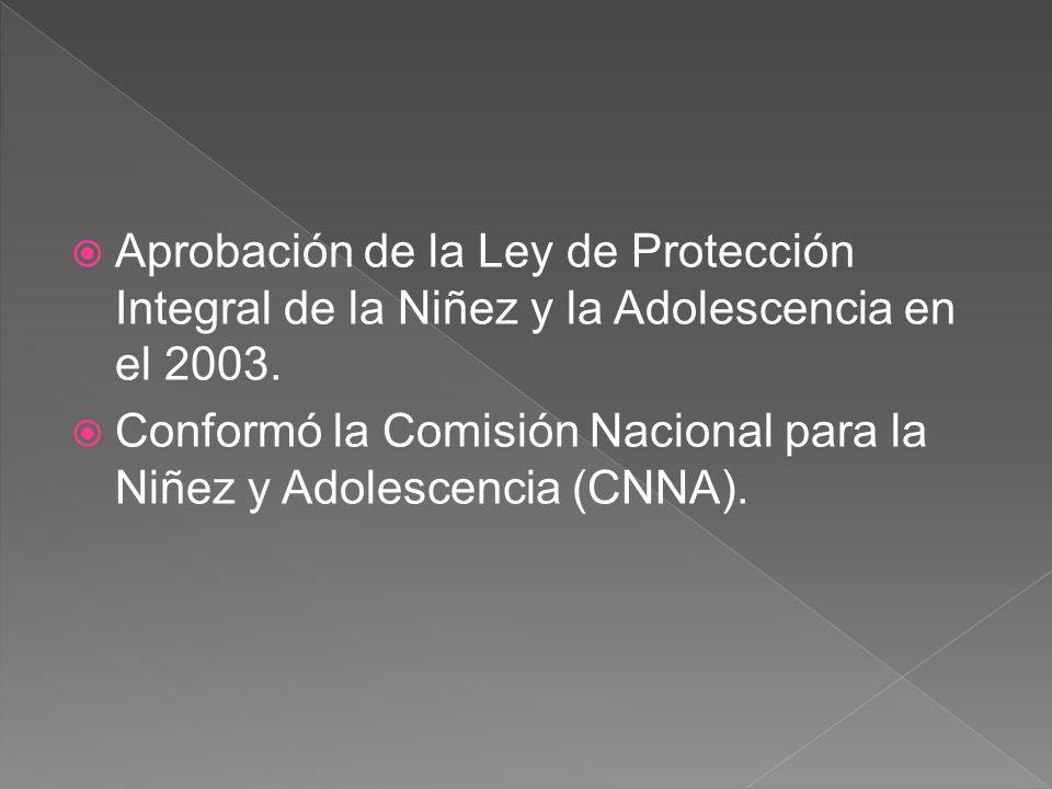 Aprobación de la Ley de Protección Integral de la Niñez y la Adolescencia en el 2003. Conformó la Comisión Nacional para la Niñez y Adolescencia (CNNA
