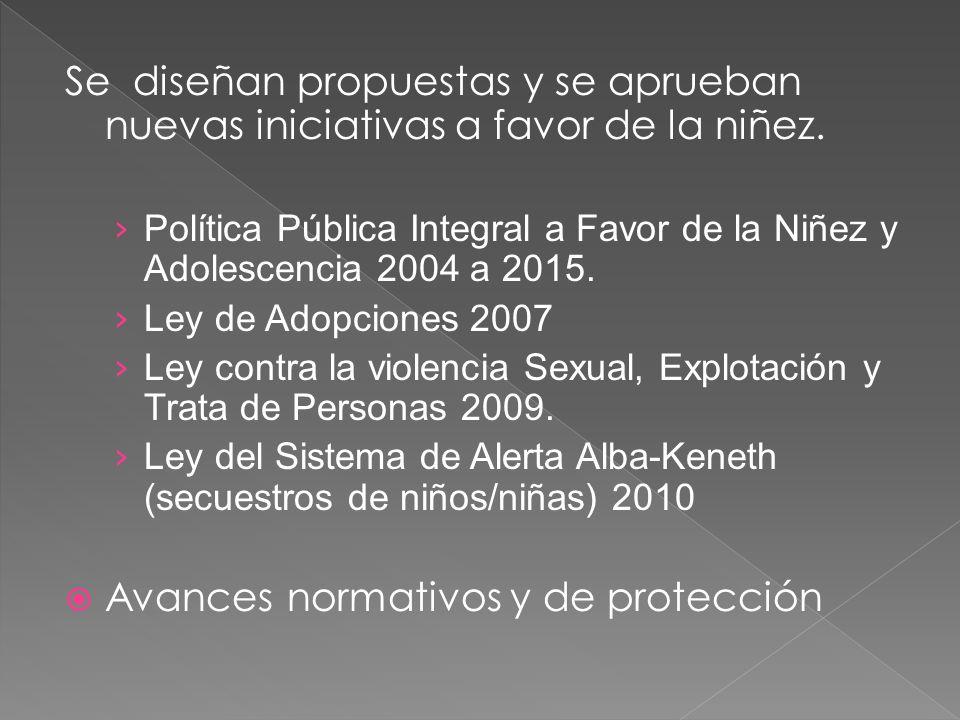 Se diseñan propuestas y se aprueban nuevas iniciativas a favor de la niñez. Política Pública Integral a Favor de la Niñez y Adolescencia 2004 a 2015.