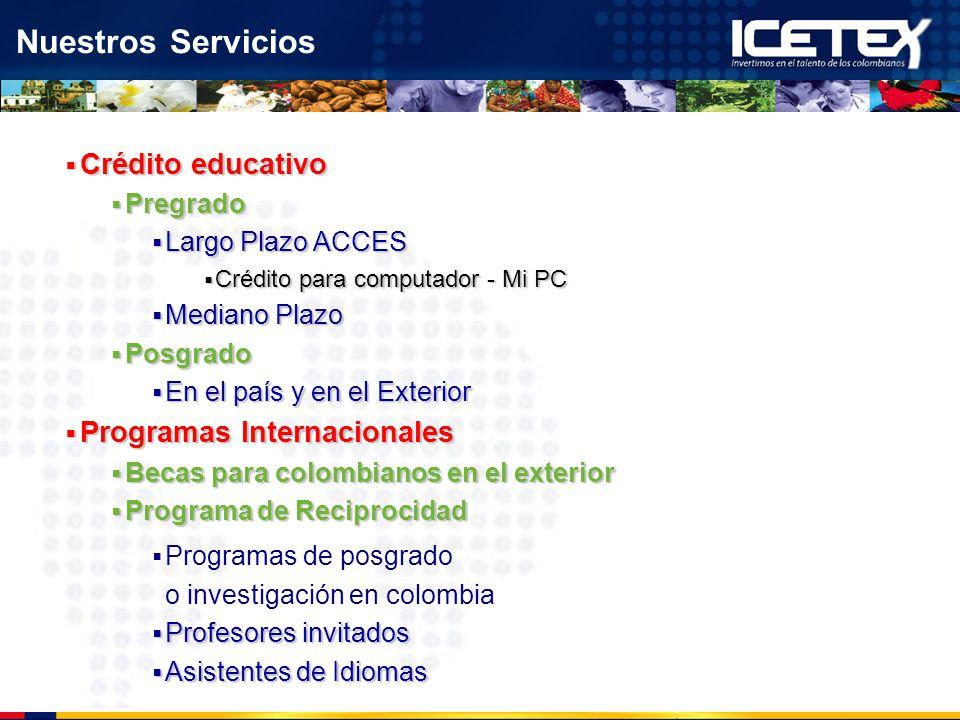 Nuestros Servicios Crédito educativo Crédito educativo Pregrado Pregrado Largo Plazo ACCES Largo Plazo ACCES Crédito para computador - Mi PC Crédito p