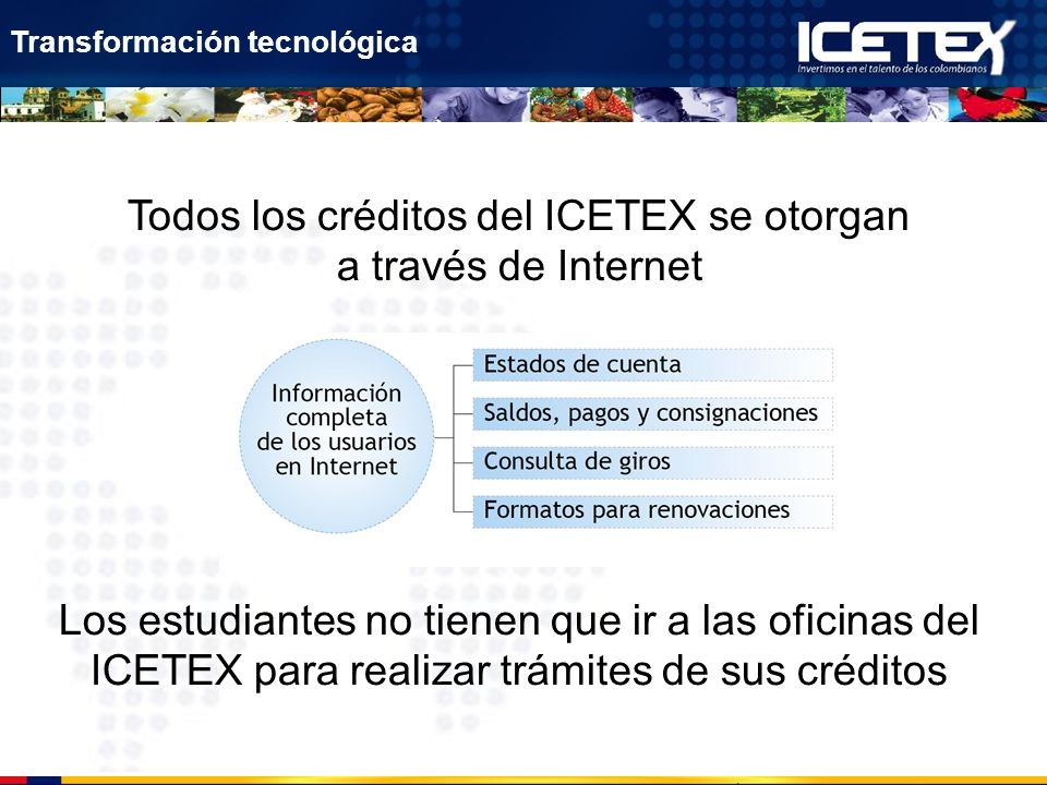 Todos los créditos del ICETEX se otorgan a través de Internet Los estudiantes no tienen que ir a las oficinas del ICETEX para realizar trámites de sus