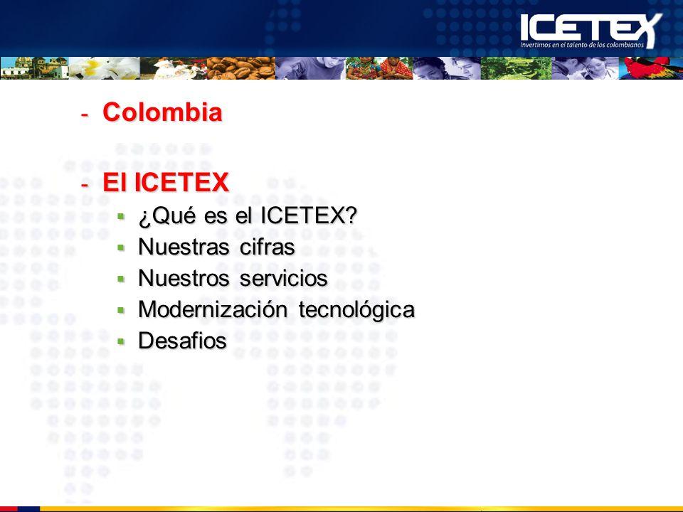 - Colombia - El ICETEX ¿Qué es el ICETEX? ¿Qué es el ICETEX? Nuestras cifras Nuestras cifras Nuestros servicios Nuestros servicios Modernización tecno