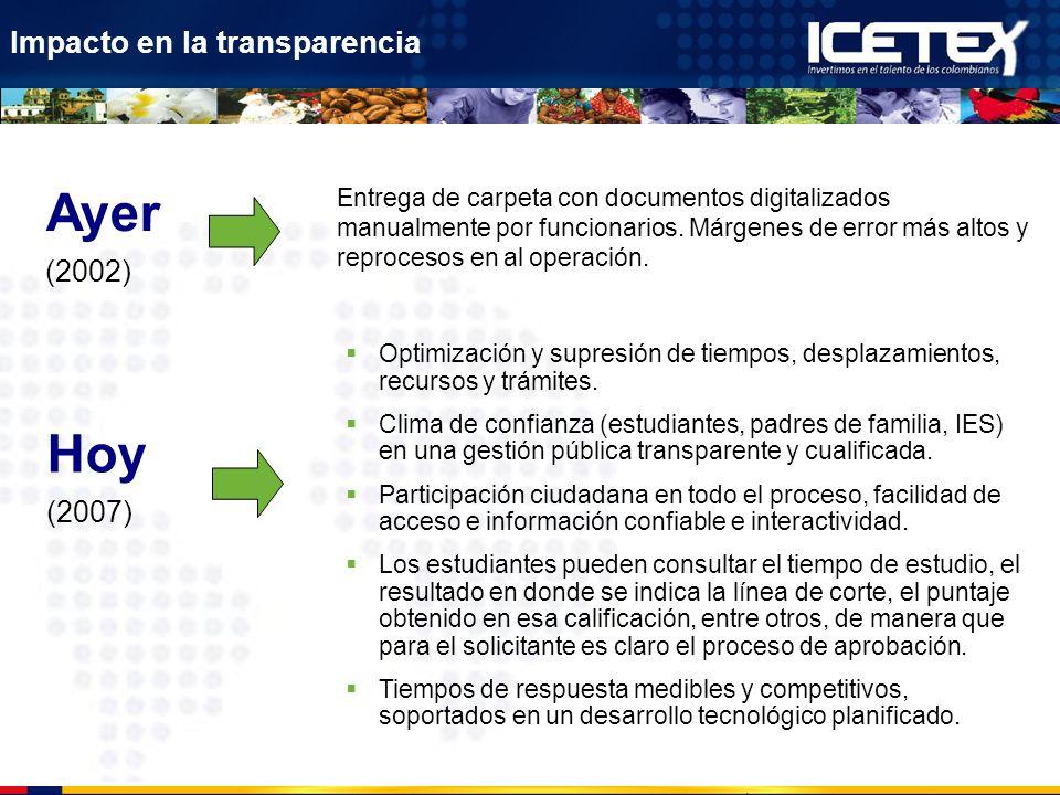 Impacto en la transparencia Entrega de carpeta con documentos digitalizados manualmente por funcionarios. Márgenes de error más altos y reprocesos en