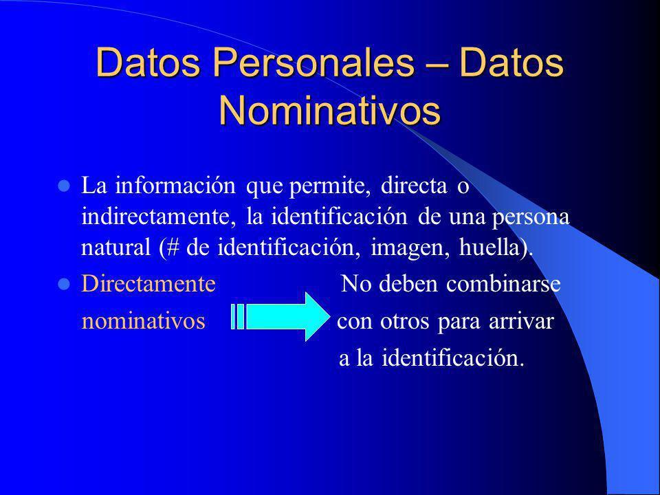 Datos Personales – Datos Nominativos La información que permite, directa o indirectamente, la identificación de una persona natural (# de identificaci