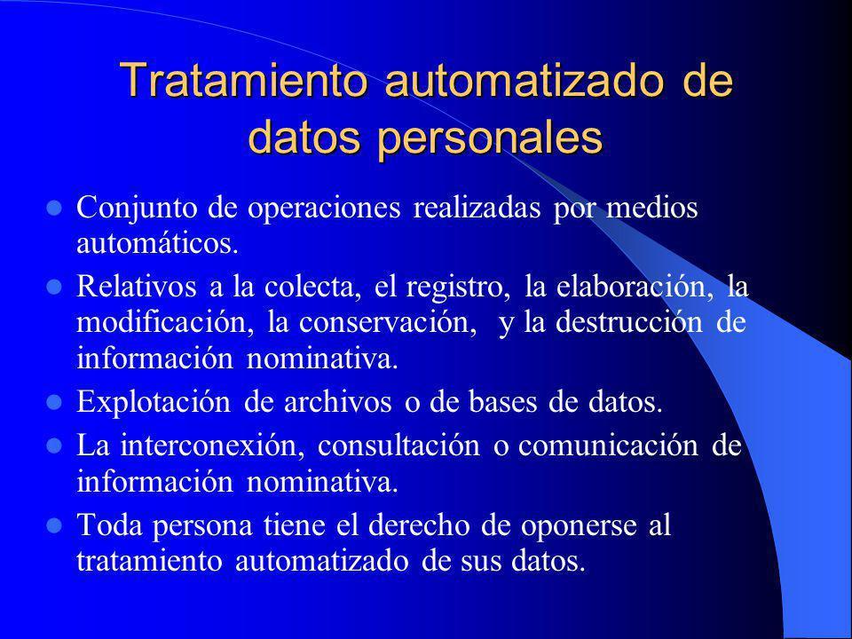 Tratamiento automatizado de datos personales Conjunto de operaciones realizadas por medios automáticos. Relativos a la colecta, el registro, la elabor
