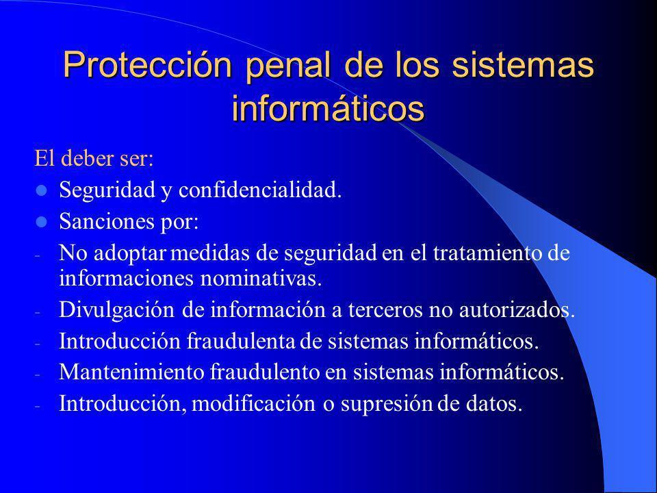 Protección penal de los sistemas informáticos El deber ser: Seguridad y confidencialidad. Sanciones por: - No adoptar medidas de seguridad en el trata