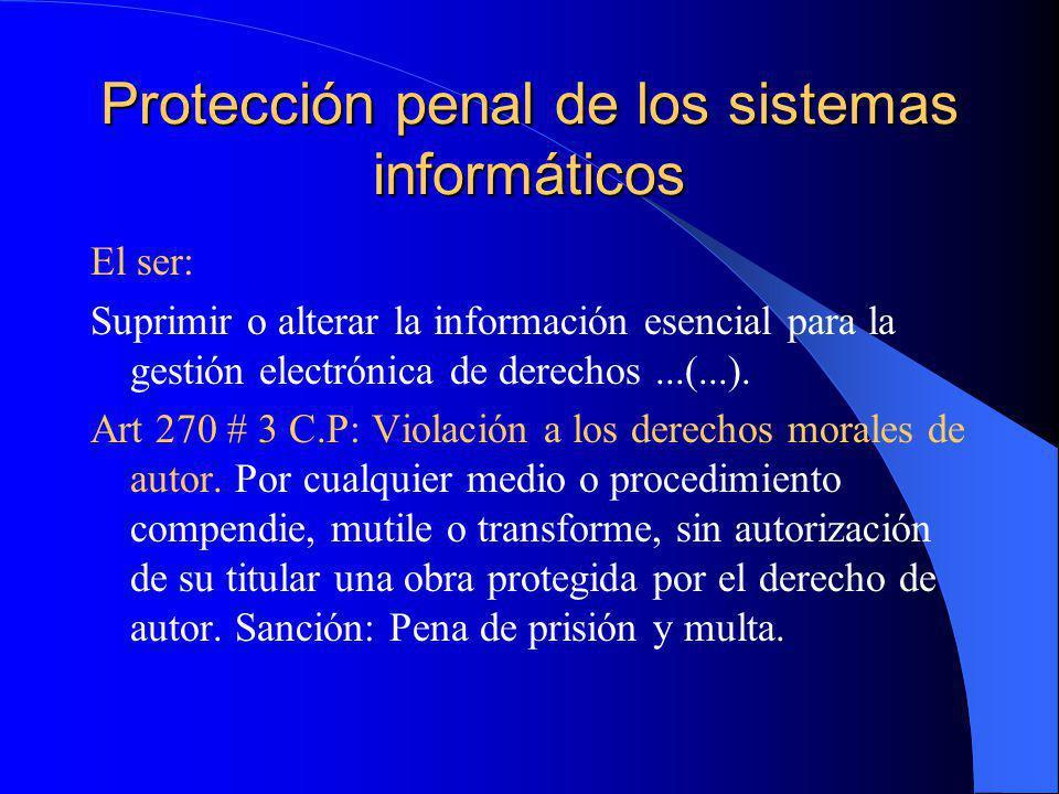 Protección penal de los sistemas informáticos El ser: Suprimir o alterar la información esencial para la gestión electrónica de derechos...(...). Art