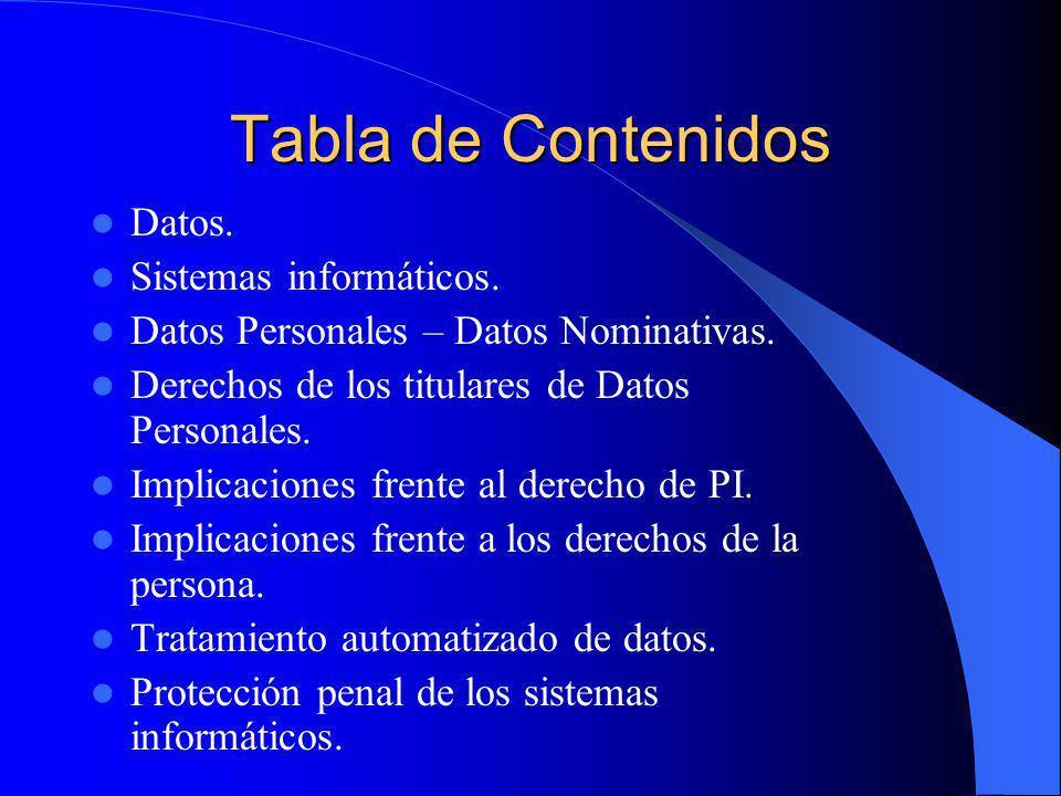 Tabla de Contenidos Datos. Sistemas informáticos. Datos Personales – Datos Nominativas. Derechos de los titulares de Datos Personales. Implicaciones f