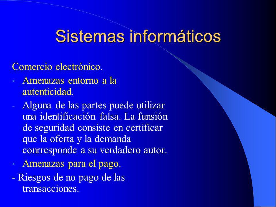 Sistemas informáticos Comercio electrónico. Amenazas entorno a la autenticidad. - Alguna de las partes puede utilizar una identificación falsa. La fun