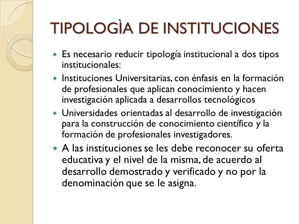 TIPOLOGÌA DE INSTITUCIONES Es necesario reducir tipología institucional a dos tipos institucionales: Instituciones Universitarias, con énfasis en la f