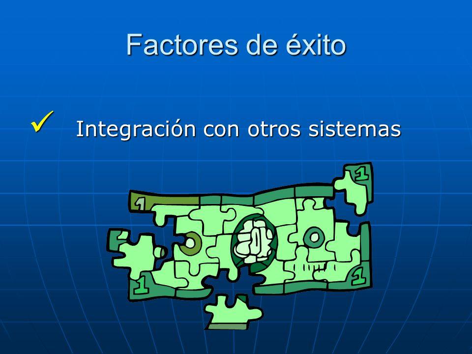 Factores de éxito Integración con otros sistemas Integración con otros sistemas