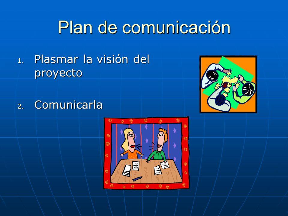 Plan de comunicación 1. Plasmar la visión del proyecto 2. Comunicarla