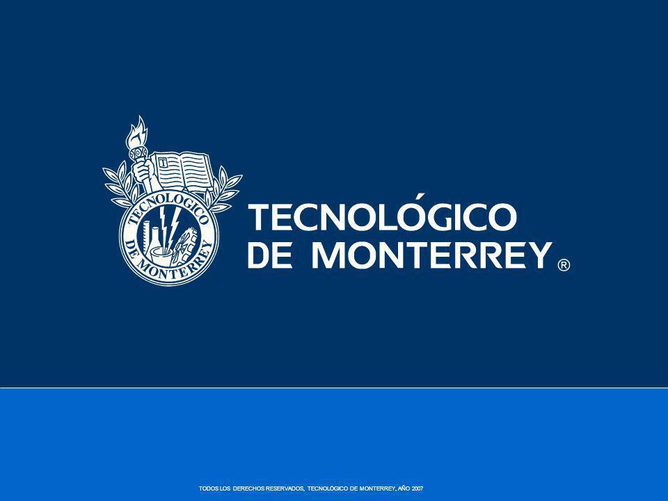 TODOS LOS DERECHOS RESERVADOS, TECNOLÓGICO DE MONTERREY, AÑO 2007 Beca-Crédito Se otorgan desde un 20% hasta 70% Este tipo de apoyo se compone en mitad beca y mitad crédito.
