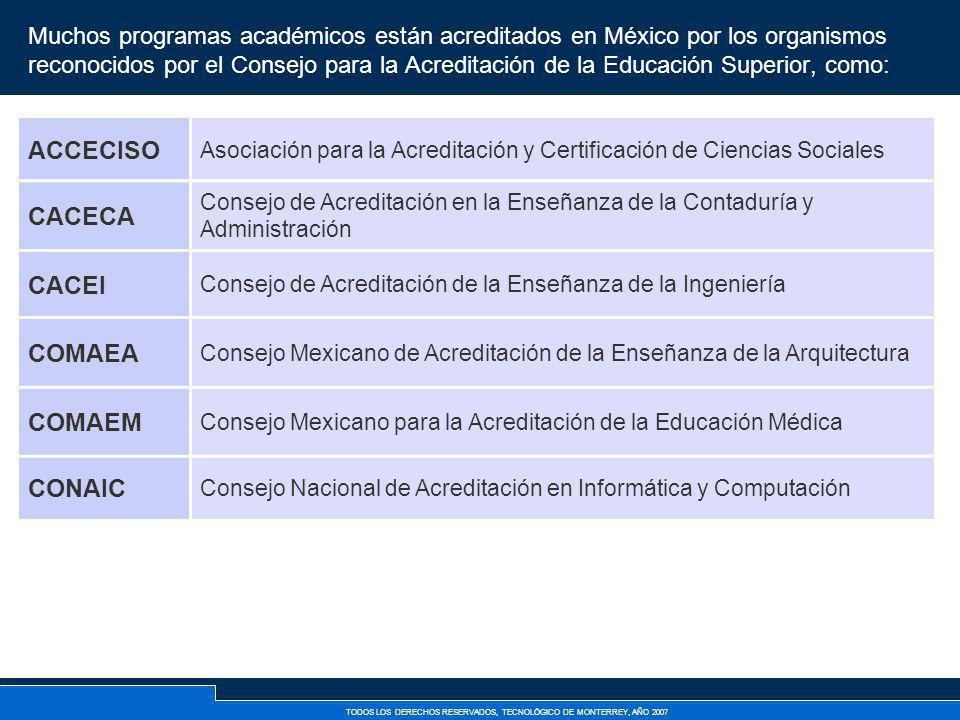 TODOS LOS DERECHOS RESERVADOS, TECNOLÓGICO DE MONTERREY, AÑO 2007 Muchos programas académicos están acreditados en México por los organismos reconocid