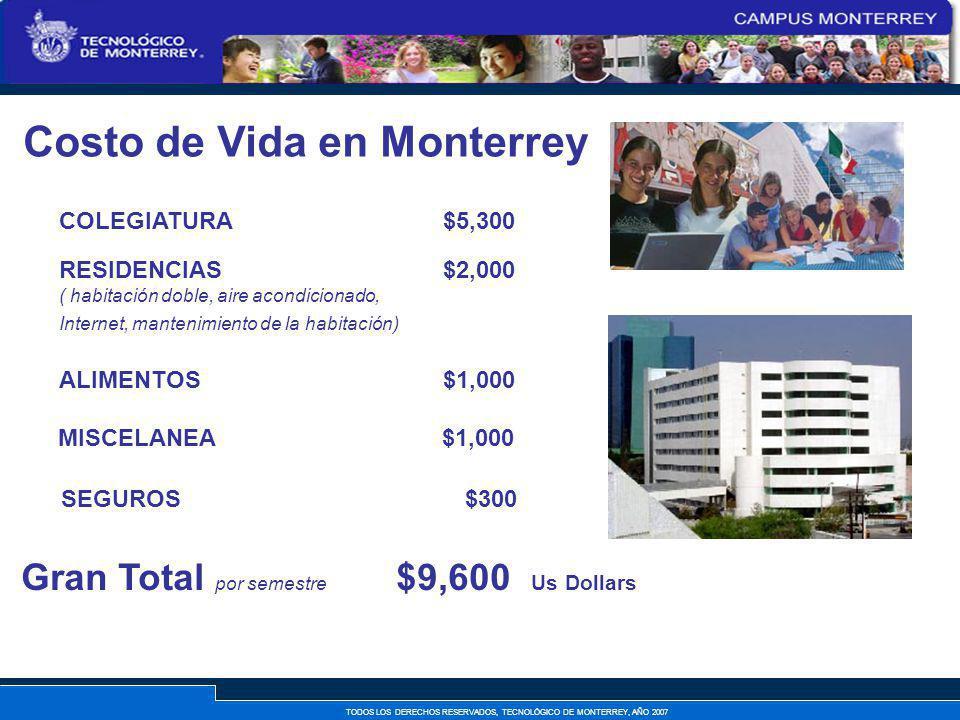 TODOS LOS DERECHOS RESERVADOS, TECNOLÓGICO DE MONTERREY, AÑO 2007 Costo de Vida en Monterrey RESIDENCIAS $2,000 ( habitación doble, aire acondicionado