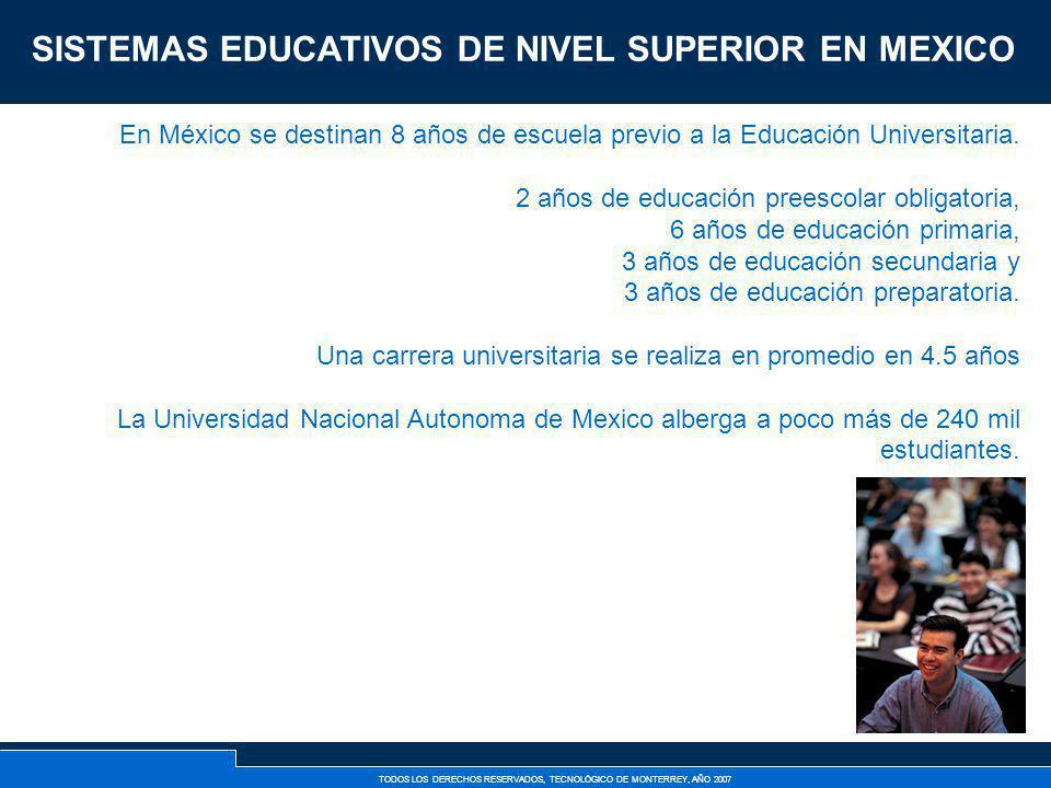 TODOS LOS DERECHOS RESERVADOS, TECNOLÓGICO DE MONTERREY, AÑO 2007 En México se destinan 8 años de escuela previo a la Educación Universitaria. 2 años