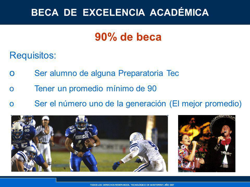 TODOS LOS DERECHOS RESERVADOS, TECNOLÓGICO DE MONTERREY, AÑO 2007 Becas de Excelencia 90% de beca Requisitos: o Ser alumno de alguna Preparatoria Tec